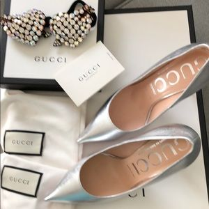 Gucci Shoes - Gucci Metallic Pump with Crystal Heart